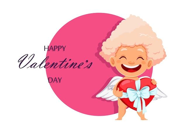 かわいい面白いキューピッドエンジェルと幸せなバレンタインデーのグリーティングカード