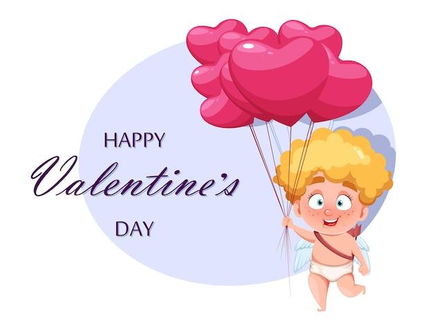 Поздравительная открытка с днем святого валентина с милым смешным купидоном