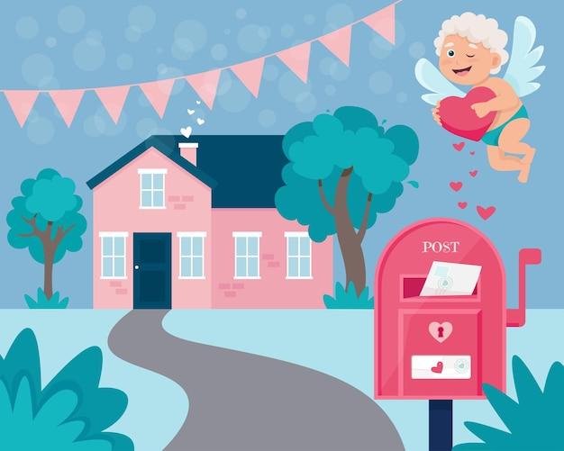 小さな家とかわいい風景と幸せなバレンタインデーのグリーティングカード