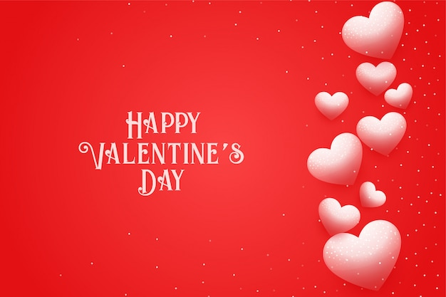 Happy valentines day greeting card with floating hearts