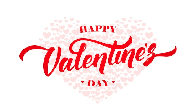 Happy valentines day greeting card with hand lettering on hearts background.  .