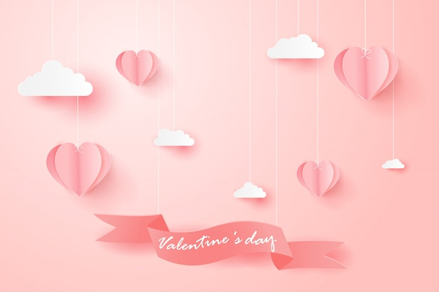 Happy valentines day greeting card with heart shaped balloons.