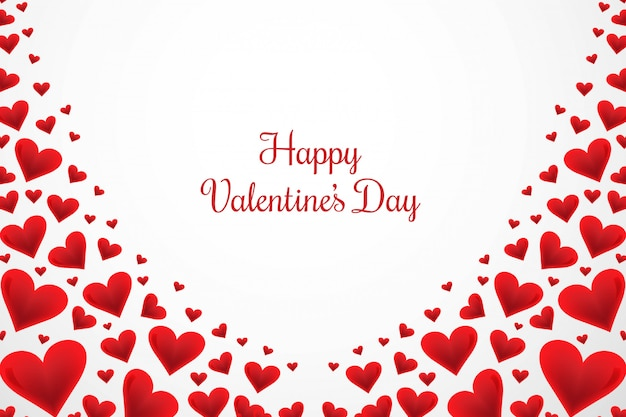 Happy valentines day greeting card with hearts