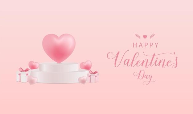 연단에 글자와 심장 해피 발렌타인 데이 인사말 카드