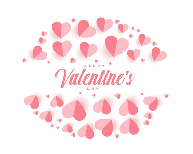 Happy valentines day greeting card with paper hearts