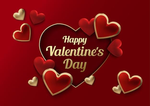 С днем святого валентина открытка с реалистичными сердцами