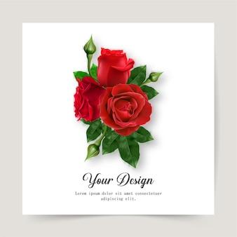 행복한 발렌타인 데이. 빨간 장미의 현실과 인사말 카드,