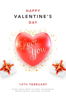Happy valentines day greeting card with red hearts and gift