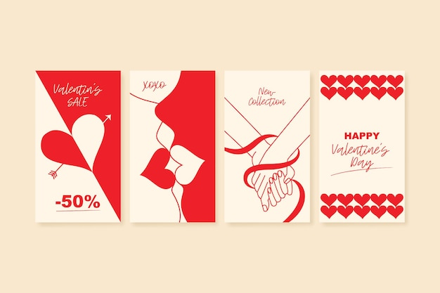 Happy valentines day greeting cards trendy abstract art templates suitable for social media