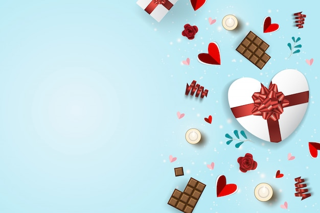 Happy valentines day greeting cards with ornaments