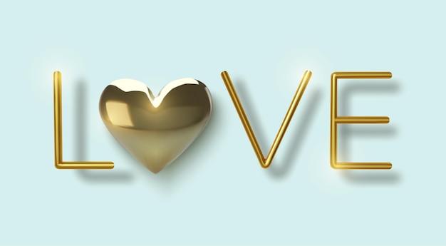 С днем святого валентина приветствие, реалистичные золотые металлические сердца и текст на синем фоне