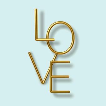 С днем святого валентина приветствие, реалистичный золотой металлический текст на синем фоне