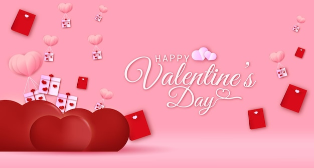 Happy valentines day greeting text banner with hearts ballon