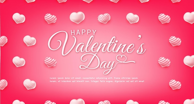 Happy valentines day greeting text banner with hearts