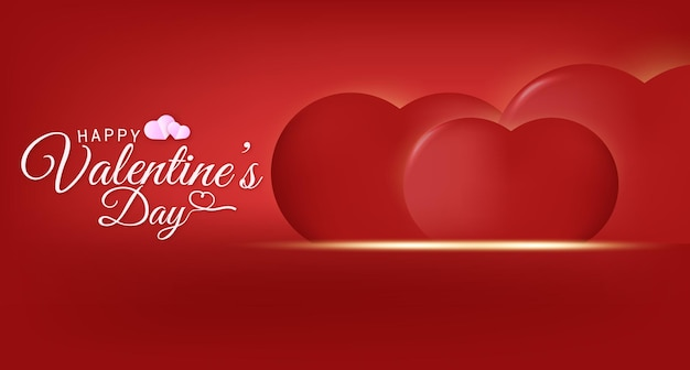 Happy valentines day greeting text with hearts background