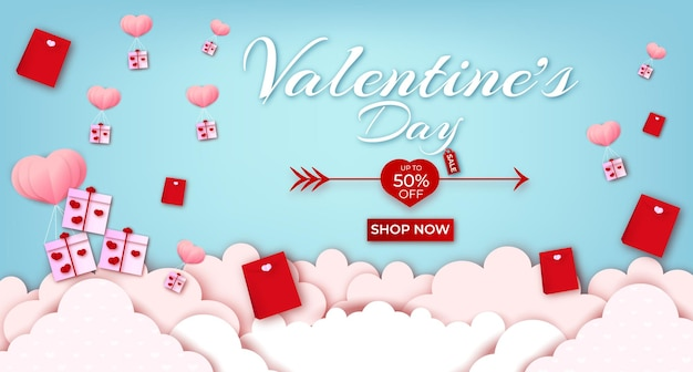 Happy valentines day greeting text with hearts and banner sale