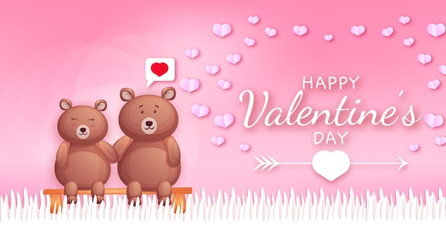 Happy valentines day greeting text with hearts and bear couple