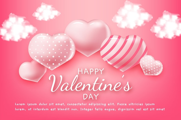 Happy valentines day greeting text with hearts and clouds