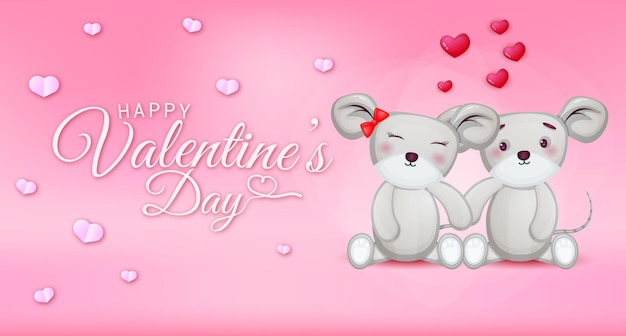 Happy valentines day greeting text with hearts and mouse couple