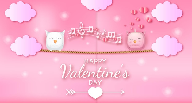 Happy valentines day greeting text with hearts and owl couple