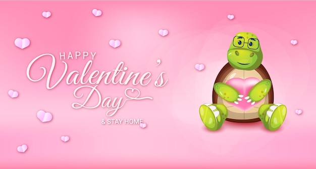 Happy valentines day greeting text with hearts and stay home