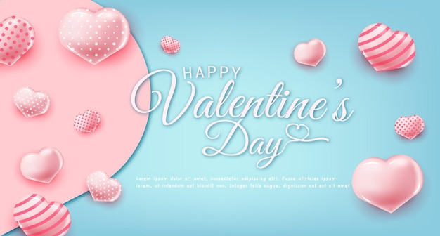 Happy valentines day greeting text with lovely elements
