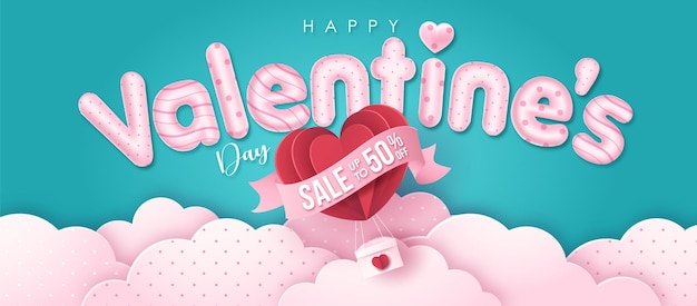 Happy valentines day greeting text with paper style air balloon