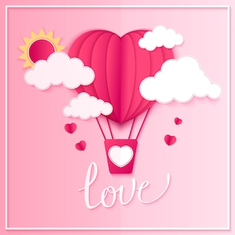 Happy valentines day  greetings card design with paper cut red heart shape hot air balloons flying and hearts in white .  illustration.