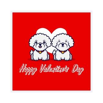 귀여운 커플 강아지와 함께 행복 한 발렌타인 데이 인사말 카드