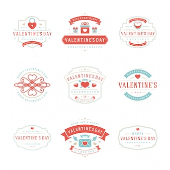 Happy valentines day greetings cards and badges typography design with decoration symbols