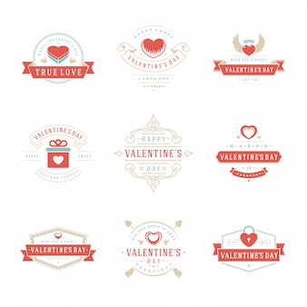 Happy valentines day greetings cards, labels, badges
