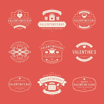 Happy valentines day greetings labels set