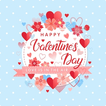 Happy valentines day - hand painted lettering with different hearts and flowers.romantic illustration perfect for  cards,prints flyers,posters,holiday invitations and more.vector valentines day card.