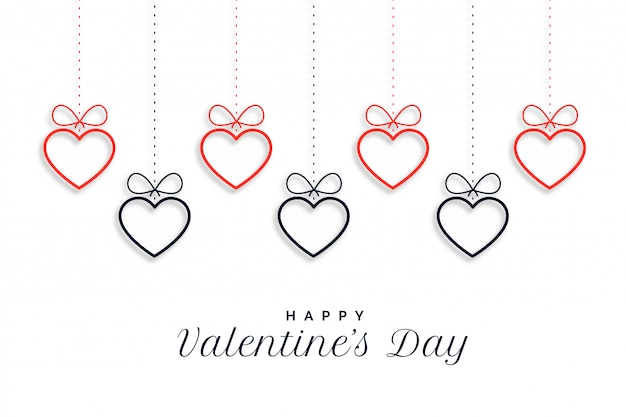 Happy valentines day hanging hearts background
