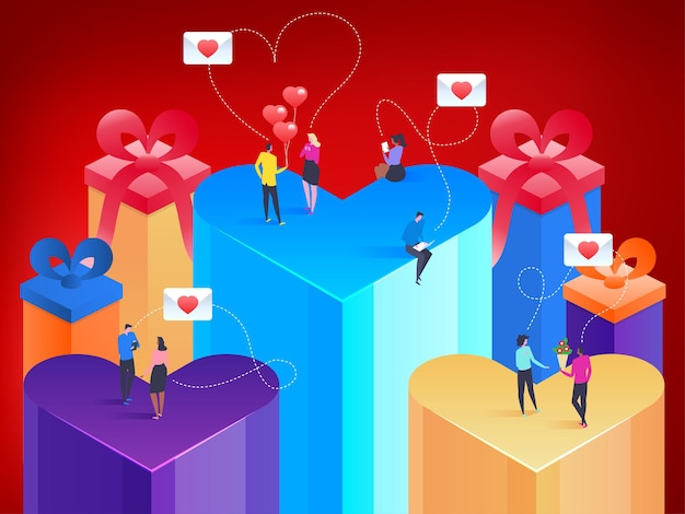 Happy valentines day. heart in isometric style. love is in the air. small people messaging to each other.