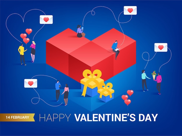 Happy valentines day. heart in isometric style. small people messaging to each other.