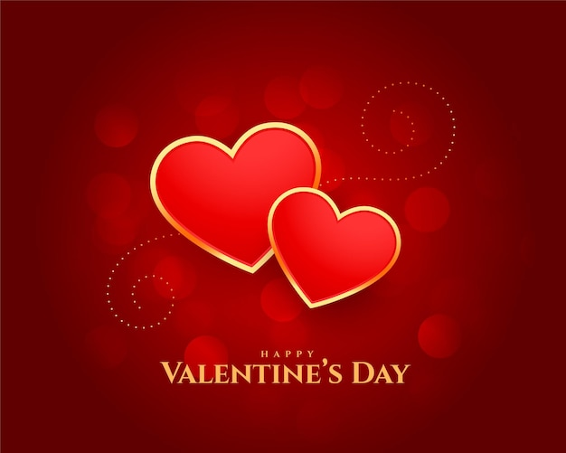 幸せなバレンタインデーの心の美しいカードのデザイン