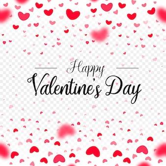 С днем святого валентина, сердца падают на белый прозрачный фон.