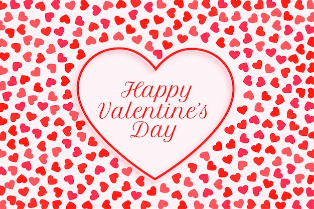 Happy valentines day hearts frame greeting card