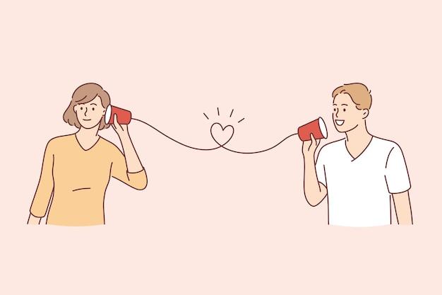 Счастливый день святого валентина праздник концепции. счастливая улыбающаяся молодая милая пара визитная карточка на бумажном телефоне, слушая и разговаривая, общаясь векторные иллюстрации