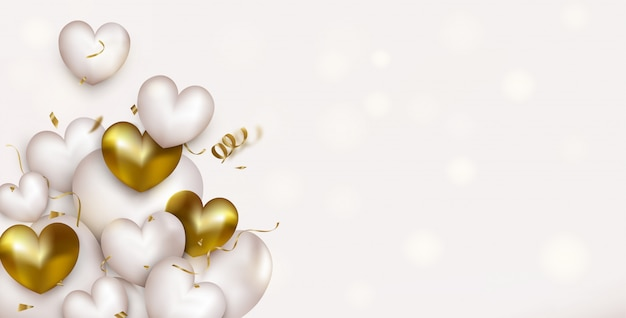 Happy valentines day horizontal background with white and gold hearts, confetti, serpentine.