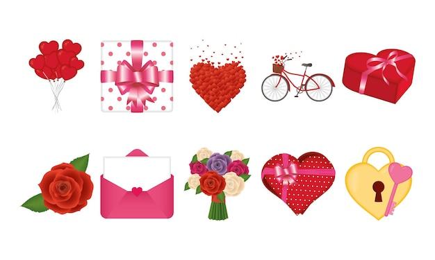 愛の情熱とロマンチックなテーマの幸せなバレンタインデーアイコンバンドルベクトルイラスト