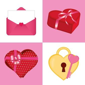 愛の情熱とロマンチックなテーマの幸せなバレンタインデーアイコンコレクションベクトルイラスト