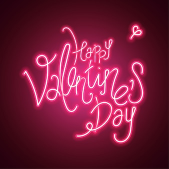 Happy valentines day.  illustration on dark background. red glowing neon
