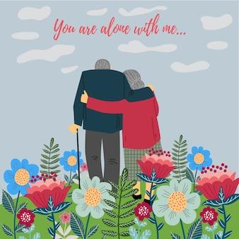 Happy valentines day illustration with senior couple