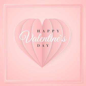 Happy valentines day invitation card template with origami paper   heart. pink background.