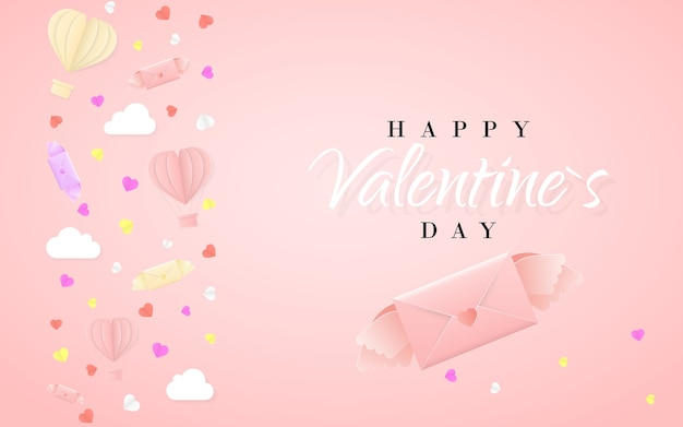 Happy valentines day invitation card template with origami paper hot air balloon in heart shape, paper letter, white clouds and confetti. pink background.