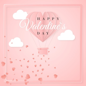 Happy valentines day invitation card template with origami paper hot air balloon in heart shape, white clouds and confetti. pink background.
