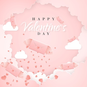 Happy valentines day invitation card template with origami paper letter, clouds and confetti. pink background.