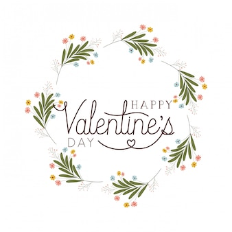 Happy valentines day label with flower crown icons